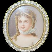SALE Antique Miniature Portrait Oil on Porcelain Jeweled Oval Frame