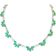 SALE Vintage Sterling Link Necklace Faux Emerald & Faux Diamond Fan Shape links