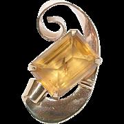 SALE Vintage Sterling & Vermeil Coro Brooch Lg Champagne Glass Stone