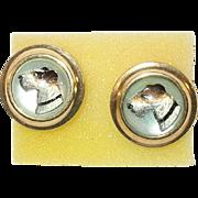 SALE Vintage Earrings Crystal Reverse Painting Terriers 14K Post