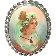 SALE Vintage Sterling Brooch  Miniature Portrait Painting