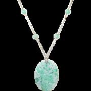 SALE Vintage 14K Jade Pendant Necklace