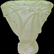 SALE Vintage Art Glass Vase Frosted Lily Pattern