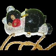 SALE Vintage Antonini Italy Clutch Bag Panda Design Swarovski Crystals