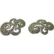 SALE Vintage sterling & marcasite silver sweater clips