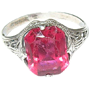 SALE Vintage Sterling Silver & Faux Ruby Ring