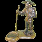 SALE Vintage Oriental Bronze Sculpture Oriental Man Incense Burner