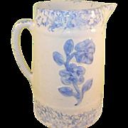 SALE Antique Sponge Ware Pitcher Raised Blue Design of Roses