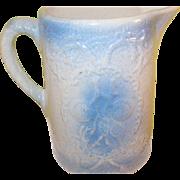 SALE Vintage Salt Glazed Pitcher Blue Raised Design