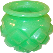 SALE Pomade Jar Jade Green Glass Faceted