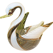 SALE Vintage Murano Glass Swan Bowl