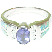 SALE Vintage Sterling Silver & Tanzanite & Opal  Ring