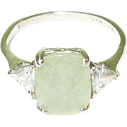 SALE Vintage Sterling Silver Jade & Cubic Zirconia Ring