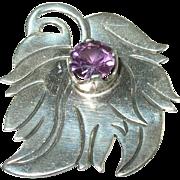 SALE Vintage Sterling Silver &  Amethyst Brooch