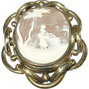 SALE Victorian Gold Filled Brooch with Shell Cameo & Antique Photo