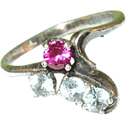 SALE Vintage Sterling Silver Faux Ruby & Diamond Ring
