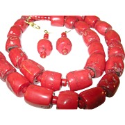 SOLD Vintage Oxblood Coral Necklace and Earrings