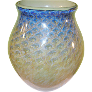 SALE Vintage Earth & Fire Lg Art Glass Vase by Philip Jacobs