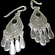 SALE Vintage Sterling Silver & Black Onyx Earrings