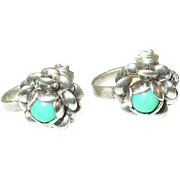 SALE Vintage Sterling Silver & Turquoise Earrings
