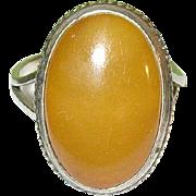 SALE Vintage Sterling Silver & Amber Ring