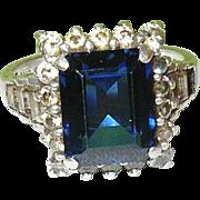 SALE Vintage Sterling Silver & Faux Sapphire & Faux Diamond Ring
