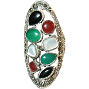 SALE Vintage Sterling Silver Black Onyx, Mother of Pearl, Green Onyx, Carnelian & Marcasite ..