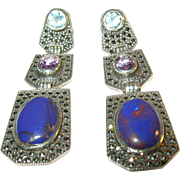 SALE Vintage Sterling Silver Marcasite, Blue Topaz, Amethyst & Purple Glass Earrings