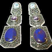 SALE Vintage Sterling Silver Marcasite, Blue Topaz, Amethyst & Purple Glass Earrings