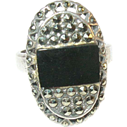 SALE Vintage Sterling Silver Black Onyx & Marcasite Ring