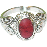 SALE Vintage Sterling Silver & Red Jasper Ring