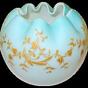 SALE Victorian Rose Bowl Baby Blue Matte Finish Enamel Decoration