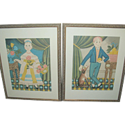 SALE Folk Art Pr Hand Colored Lithos Large