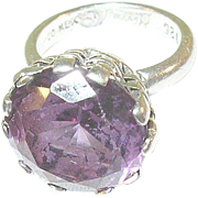 SALE Vintage Sterling Taxco Amethyst Ring
