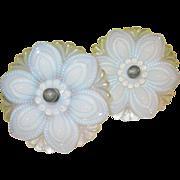 SALE Vintage Opalescent Tie Backs by Sandwich Glass Co Pair