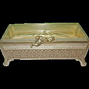 SALE Vintage Jewelry Box Footed Casket Crystal Lid