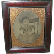 SALE Antique Tin Type Child's Portrait Framed