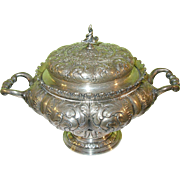 SOLD Antique Tiffany & Co Sterling Footed Sugar Bowl & Lid Repousse Feather Design