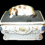SALE Antique Staffordshire Fairing Dresser Trinket Box