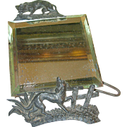 SOLD Antique Vanity Mirror Cast Iron Fox & Dog