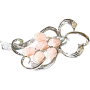 SALE Vintage Sterling & Angel Skin Coral Brooch