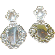SALE Vintage Sterling Repousse Drop Earrings