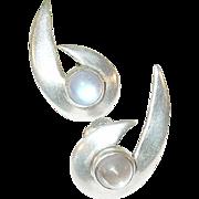 SALE Vintage Sterling & Moonstone Earrings Modernist Design by R.T.S.