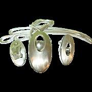 SALE Vintage Ed Levin Sterling Necklace Earring Set Modernist Design