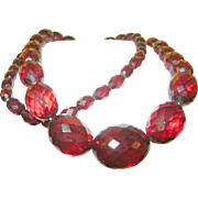 """SALE Vintage Cherry Amber Faceted Graduated Bead Necklace 36"""""""