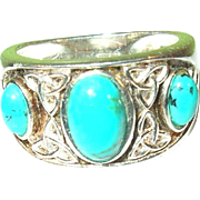 SALE Vintage Sterling Faux Turquoise Ring