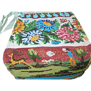 SALE Vintage Micro Mosaic Hand Bag Hunting Scene