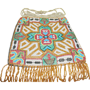 SALE Vintage Micro Bead Bag Native American Motif