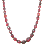 SALE Vintage Cherry Amber Faceted Bead Necklace