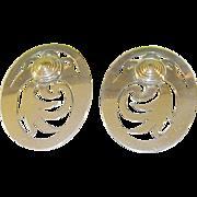 SALE Vintage Sterling & 14K Earrings Modernist Design Openwork